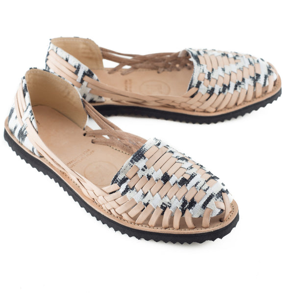 Women's Black + White Ikat Woven Leather Huarache Sandals - Ix Style - Water For Children