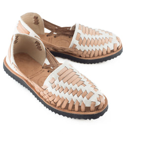 Women's Beige Woven Leather Huarache Sandals - Ix Style - Water For Children