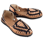 Women's Black Woven Leather Huarache Sandals - Ix Style - Water For Children
