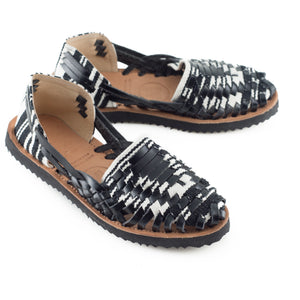 Women's Black & White Woven Leather Huarache Sandal - Ix Style - Water For Children