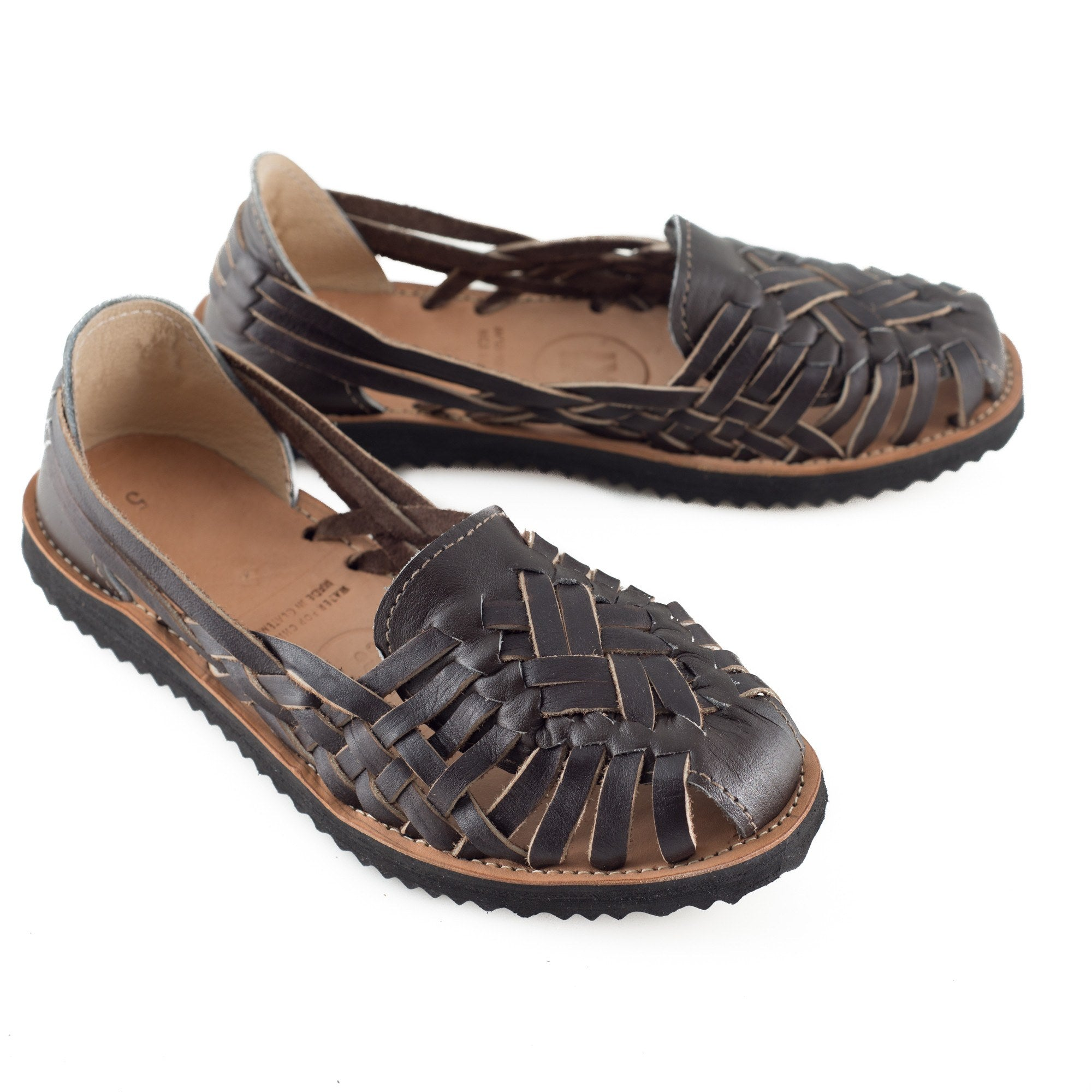 Women's Brown All Leather Huarache Sandal - Ix Style - Water For Children