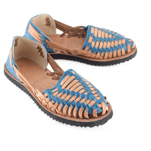 Women's Denim Woven Leather Huarache Sandal - Ix Style - Water For Children