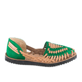 Women's Emerald Green Woven Leather Huarache Sandal - Ix Style - Water For Children