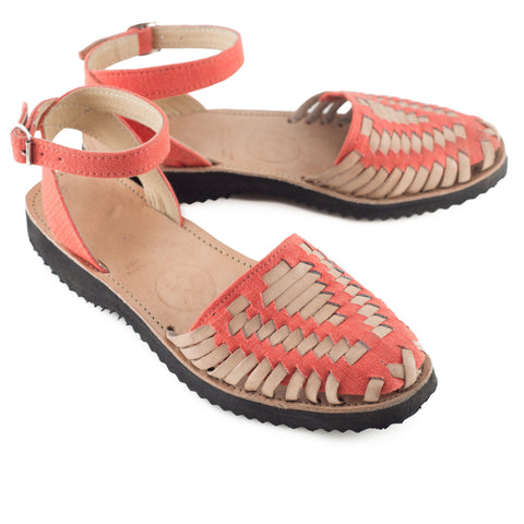 Women's Fire Coral Strapped Woven Leather Huarache Sandals - Ix Style - Water For Children
