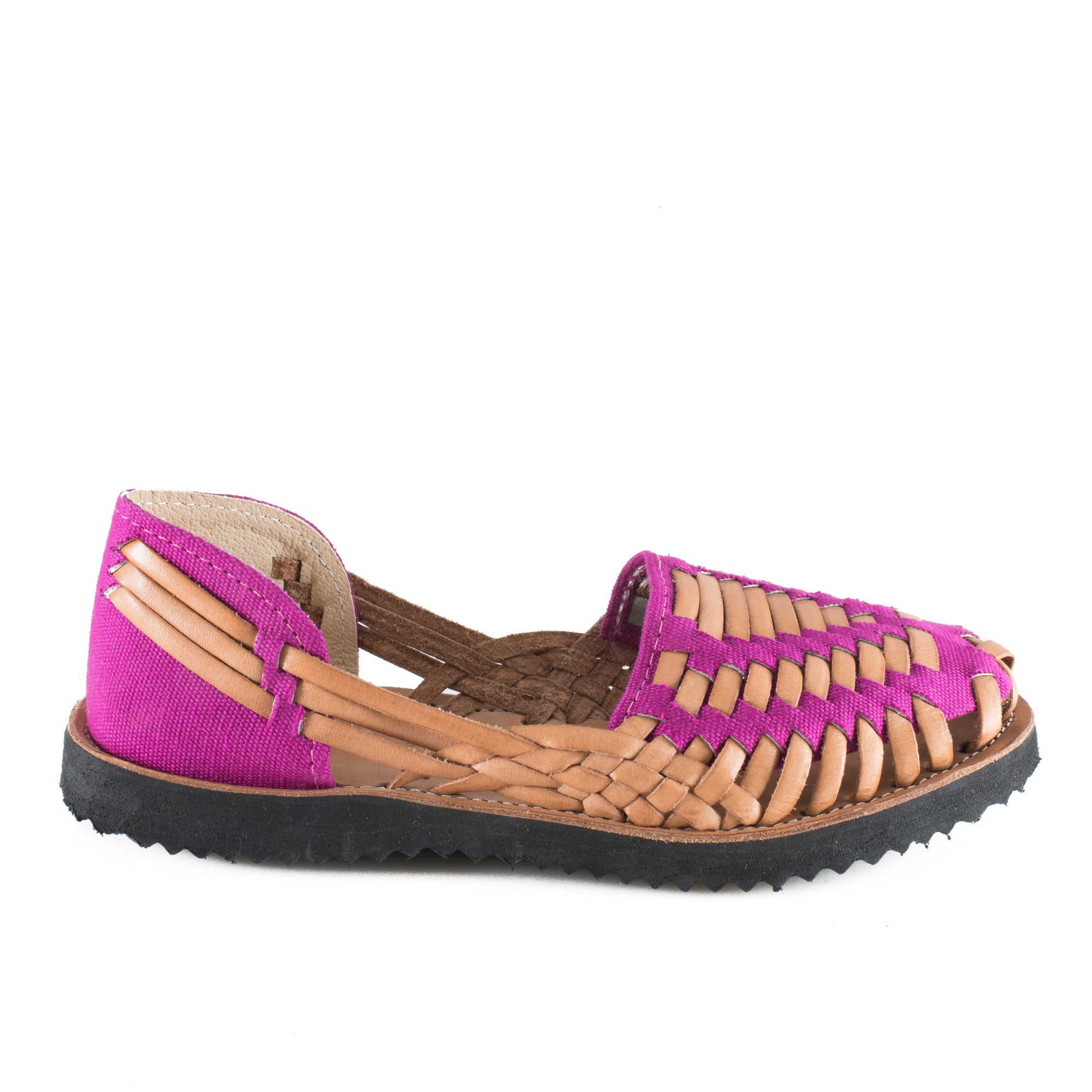 Women's Magenta Huarache Woven Leather Sandal - Ix Style - Water For Children