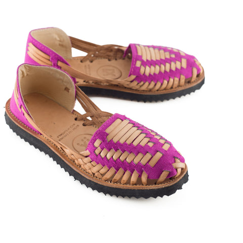 Women's Magenta Woven Leather Huarache Sandals - Ix Style - Water For Children