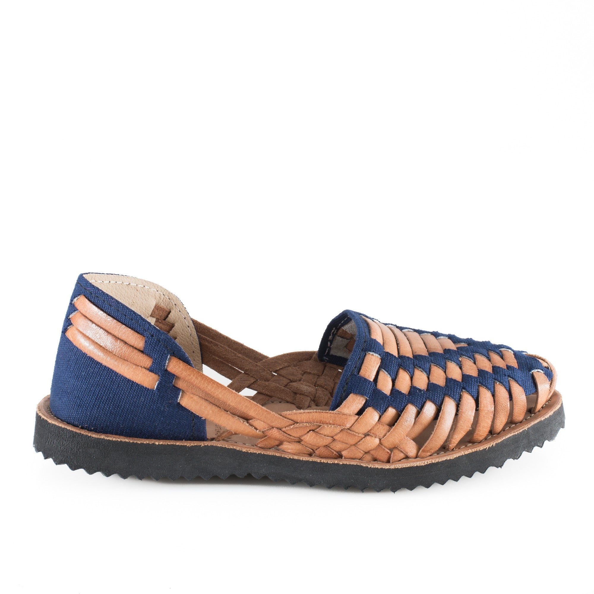 Women's Navy Woven Leather Huarache Sandals - Ix Style - Water For Children