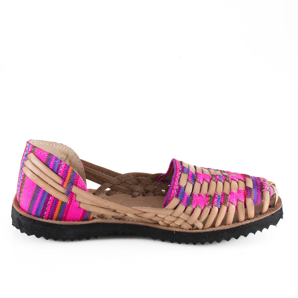 Women's Neon Pink Mayan Woven Leather Huarache Sandals - Ix Style - Water For Children