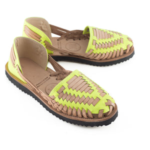 Women's Neon Yellow Woven Leather Huarache Sandal - Ix Style - Water For Children