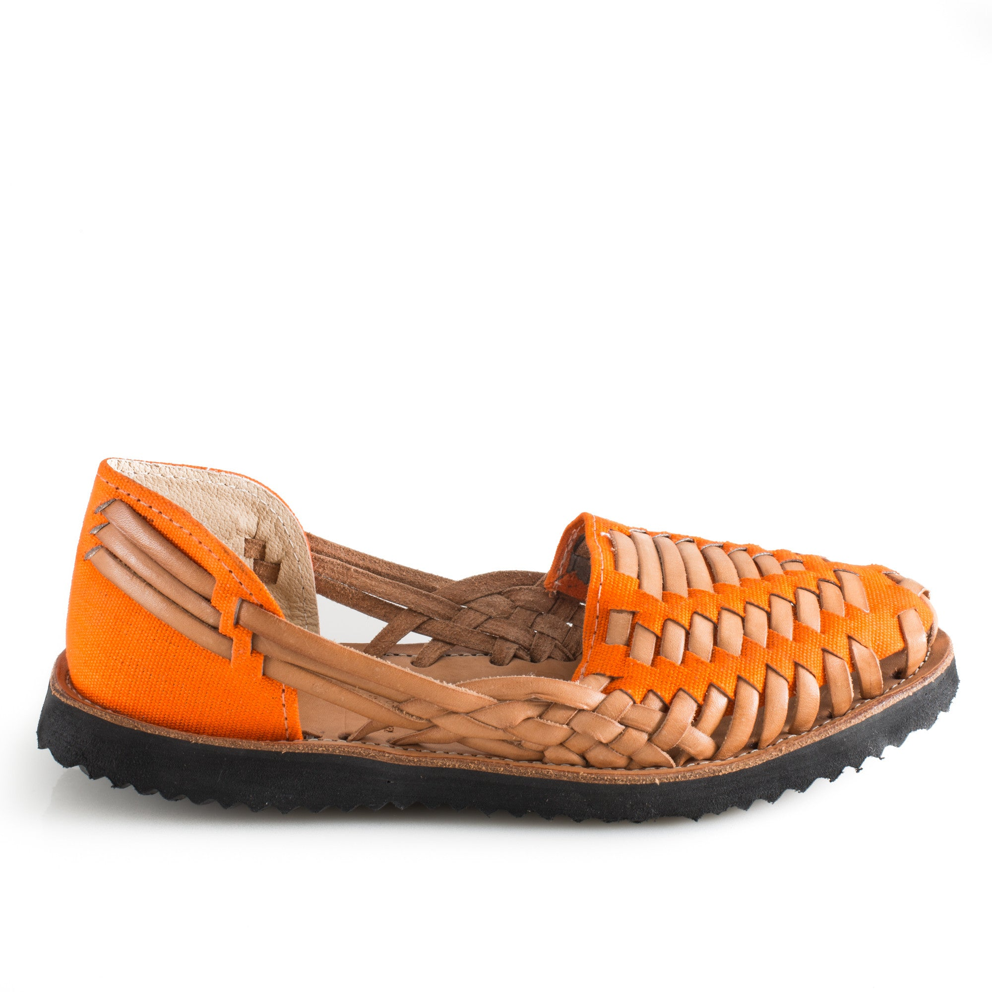 Women's Orange Woven Leather Huarache Sandals - Ix Style - Water For Children
