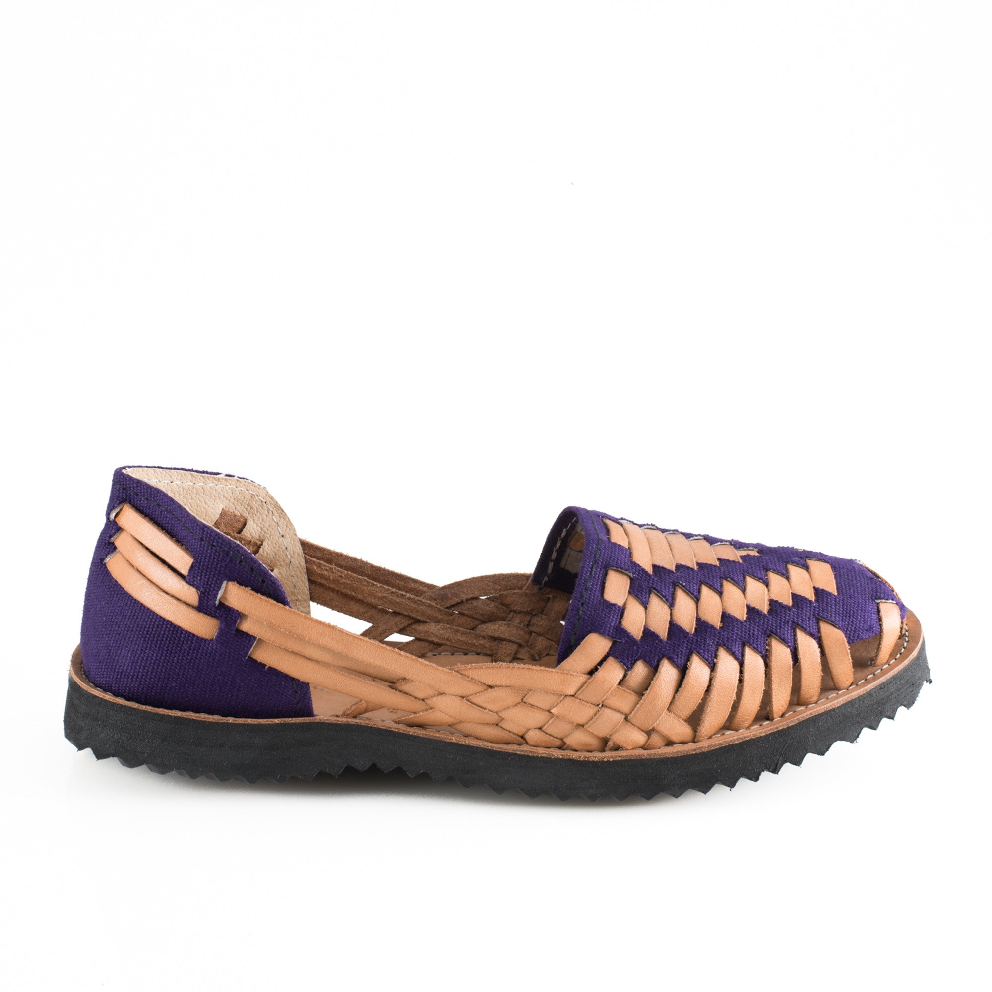 Women's Purple Woven Leather Huarache Sandals - Ix Style - Water For Children