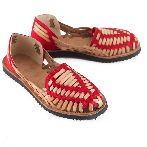 Women's Red Woven Leather Huarache Sandals - Ix Style - Water For Children