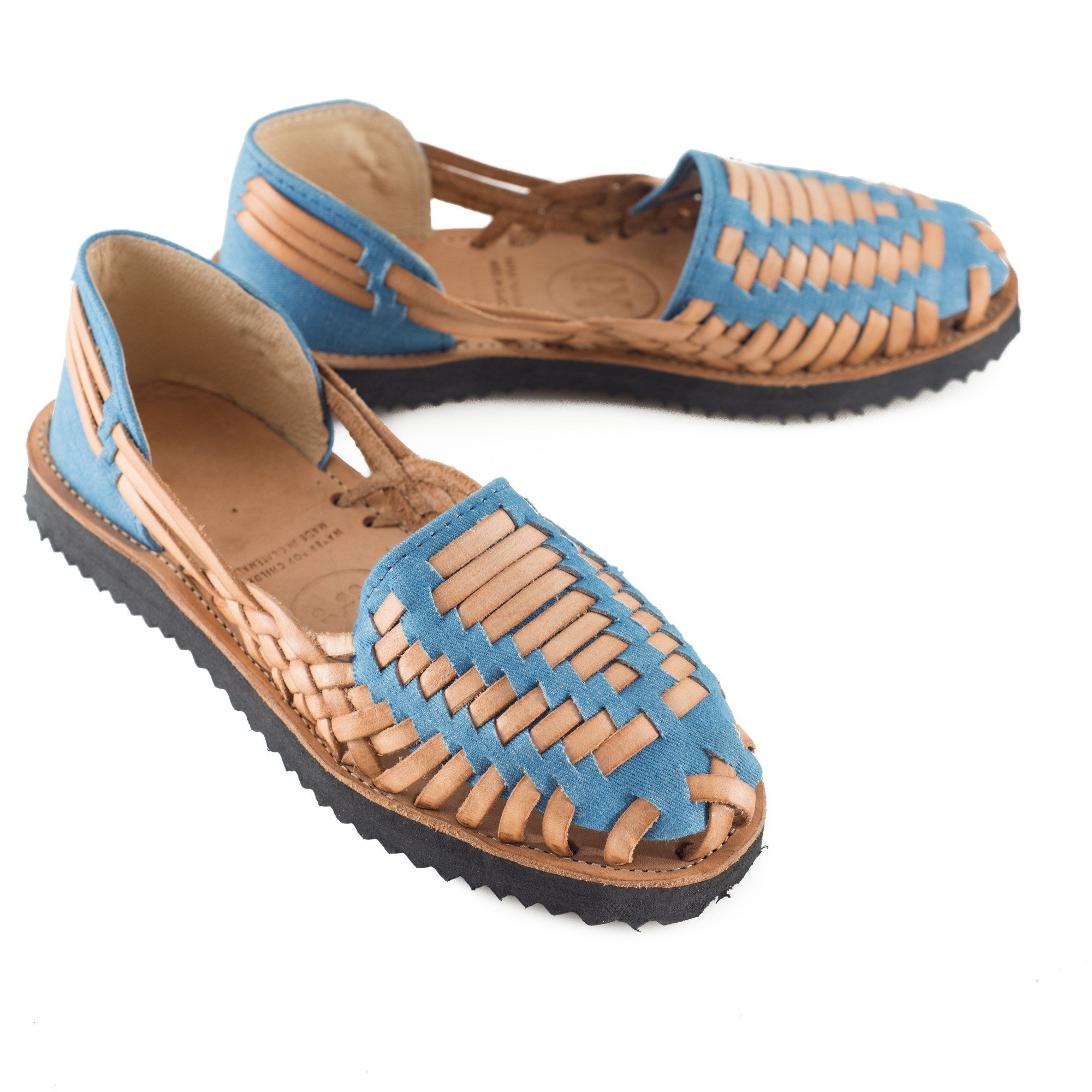 Women's Sky Blue Woven Leather Huarache Sandal - Ix Style - Water For Children