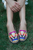 Women's Traditional Mayan Woven Leather Huarache Sandals - Ix Style - Water For Children