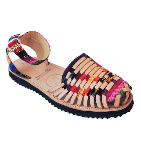 Women's Traditional Mayan Strapped Woven Leather Huarache Sandals - Ix Style - Water For Children
