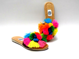 Pom Pom Slip On Sandals Multi Color - Ix Style - Water For Children
