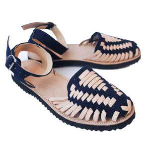 Women's Navy Strapped Woven Leather Huarache Sandals - Ix Style - Water For Children