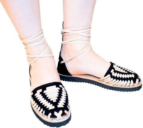 Women's Black Gladiator Woven Leather Huarache Sandals - Ix Style - Water For Children