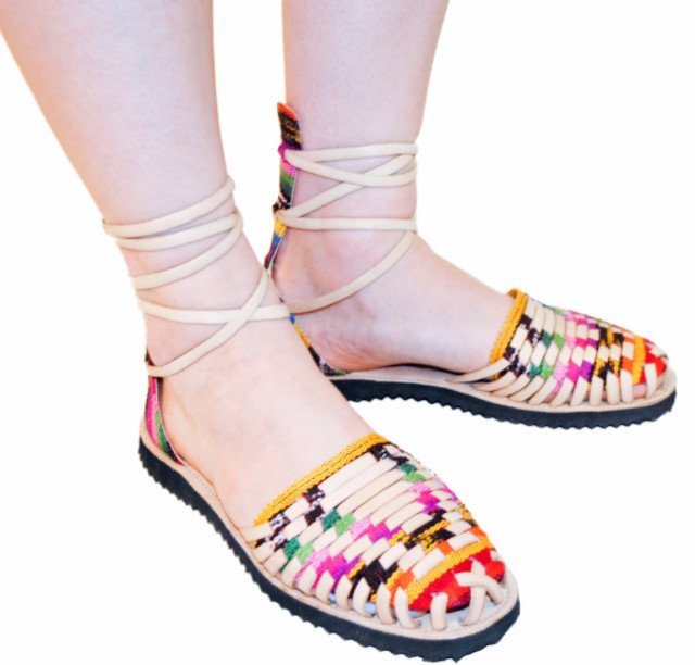 Women's Traditional Mayan Gladiator Leather Huarache Sandals - Ix Style - Water For Children