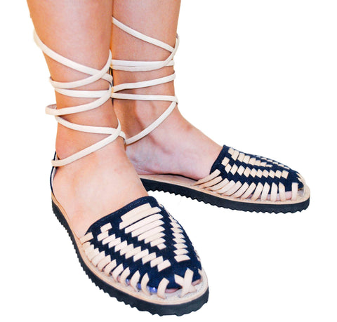 Women's Navy Gladiator Woven Leather Huarache Sandals - Ix Style - Water For Children