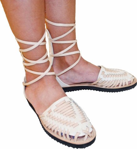 Women's Beige Gladiator Woven Leather Huarache Sandals - Ix Style - Water For Children