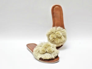 Beige Pom Pom Slip On Sandals - Ix Style - Water For Children