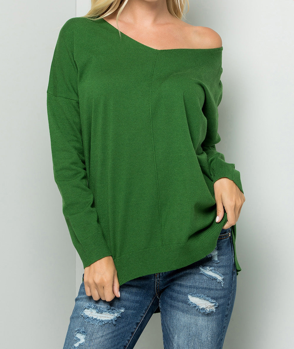 Indacy Cozy Knit V-Neck Green Sweater