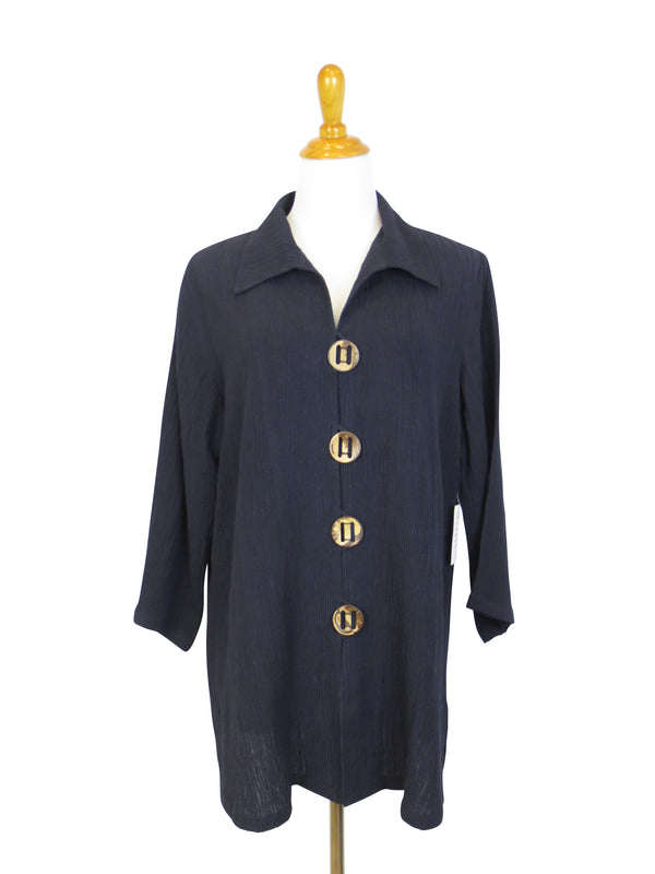AA122 - Coconut Button Long Jacket (Textured Linen)