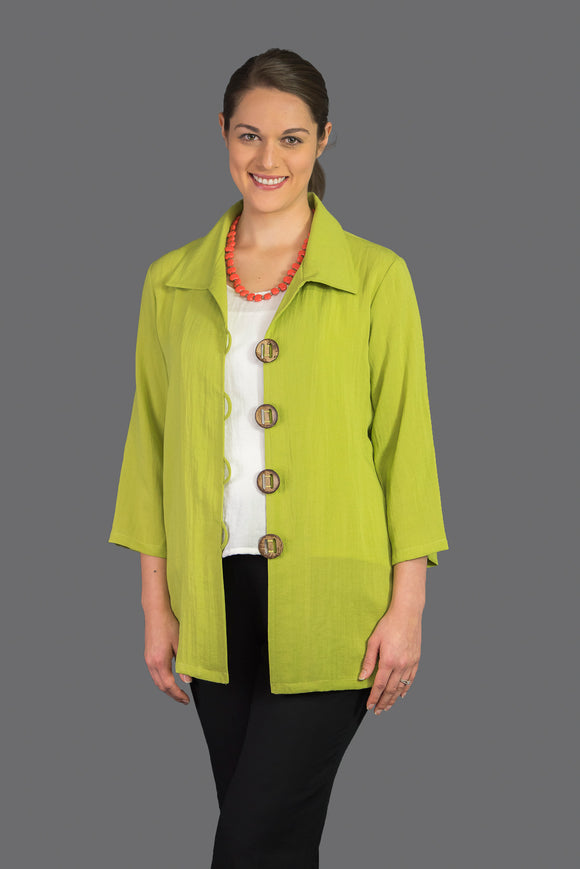 AA122 - Coconut Button Long Jacket