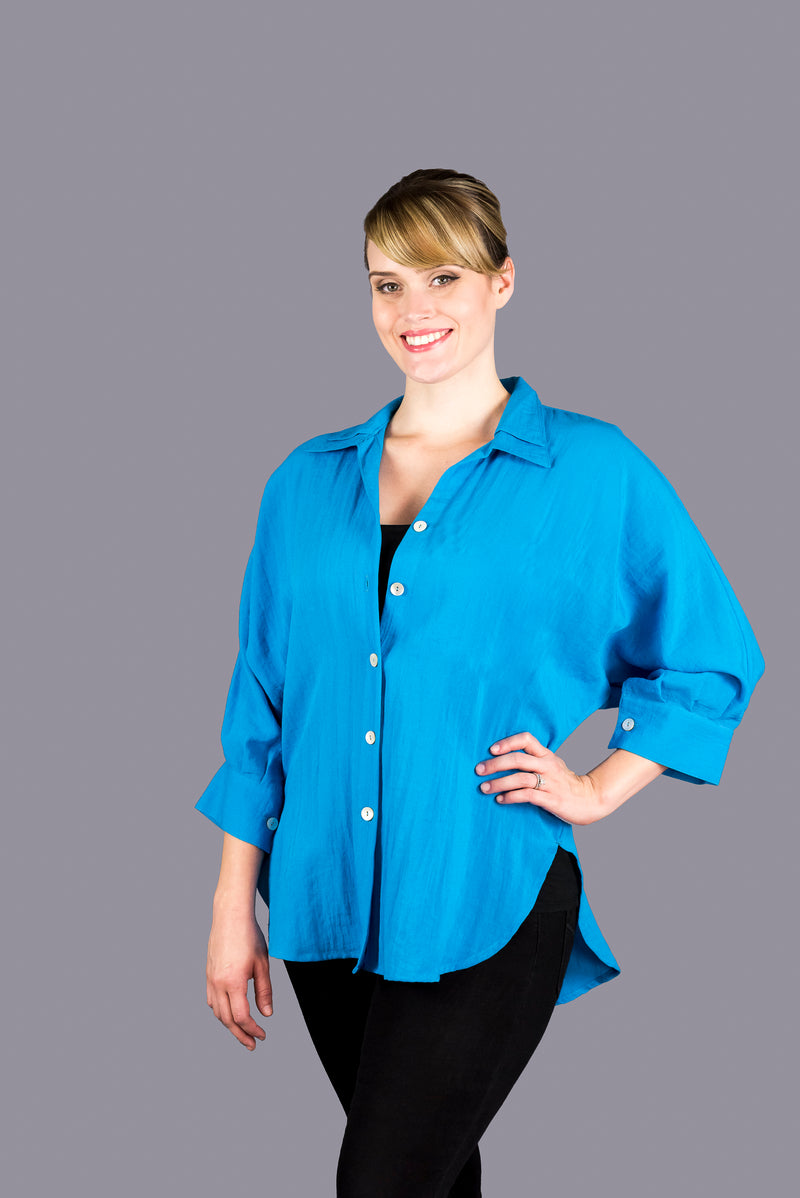 AA160 - Boyfriend Shirt with Double Flip Collar without Pocket