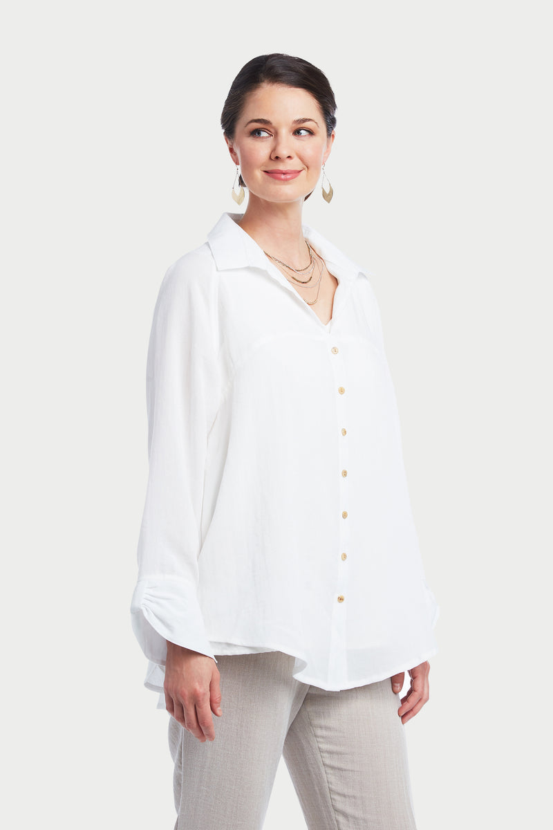 AA293 - White Blouse w/ Bow Back