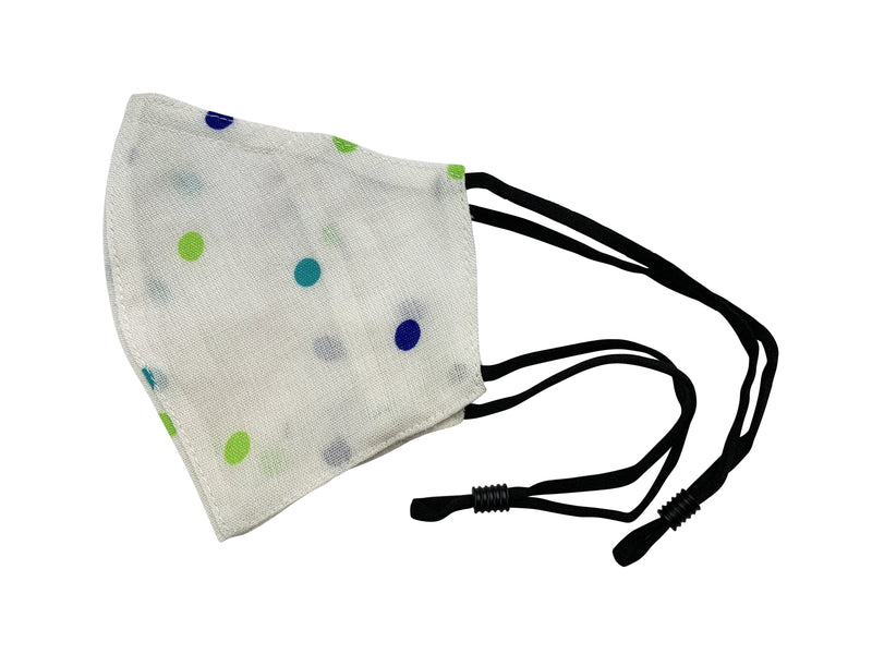 Children - Fridaze 100% Linen All Day School Masks incl. one PM 2.5 Filter - Blue Green Dots