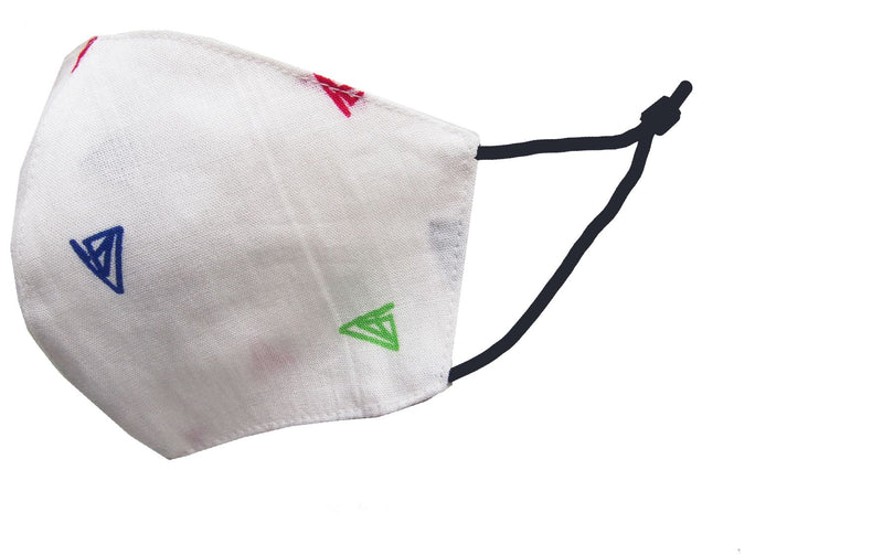 Children - Fridaze 100% Linen Face Mask incl. one PM 2.5 Filter - Multi-Color Triangles