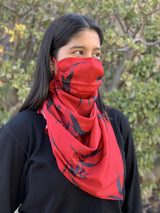 Silks by Fridaze Premium Face Masks Scarf - Red Bamboo