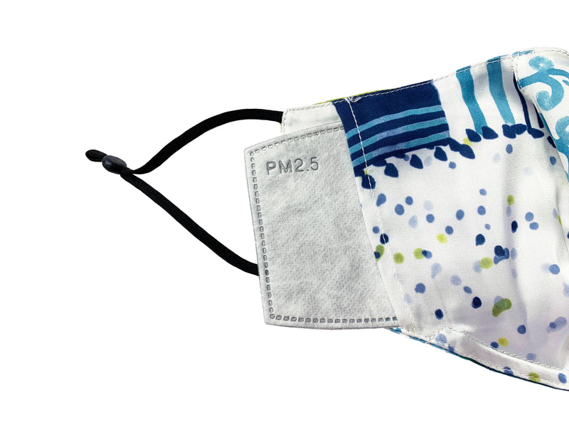 Silks by Fridaze Premium Face Masks Inc. One PM 2.5 Filter - Blue Dots