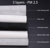 Adult PM 2.5 Activated Carbon Filter Insert Refill 10 qty/pack