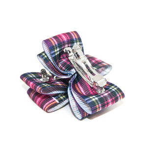 Pink Plaid Canine Clips