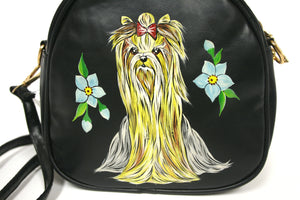 Black Hand-painted Crossbody Bag