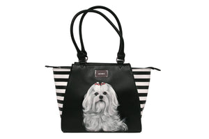 Black & White Stripe Hand-painted Tote Bag