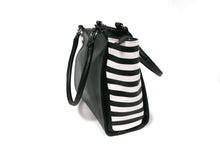 Load image into Gallery viewer, Black & White Stripe Hand-painted Tote Bag