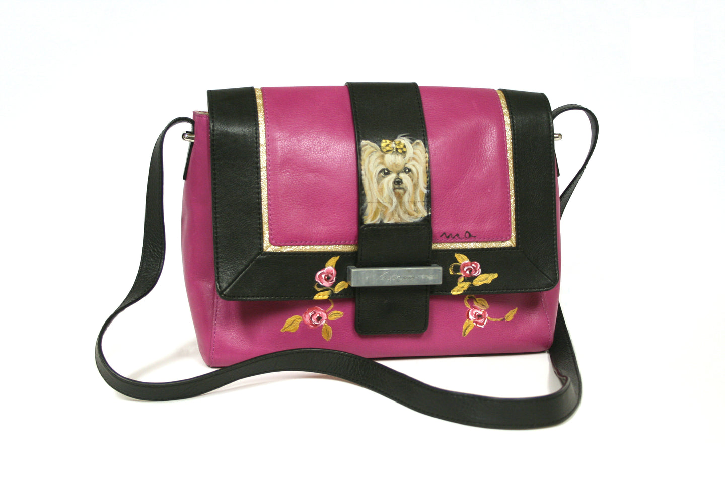 Pink & Black Hand-painted Crossbody Bag