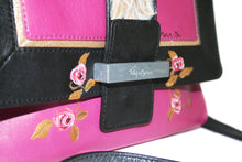 Load image into Gallery viewer, Pink & Black Hand-painted Crossbody Bag