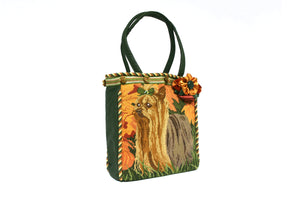 Green Needlepoint Tote Bag