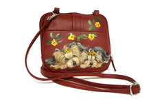 Load image into Gallery viewer, Burgundy Hand-painted Crossbody Bag