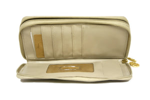 Beige Hand-painted Clutch Wallet