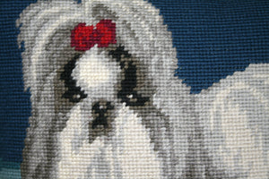Blue Maltese Needlepoint Pillow