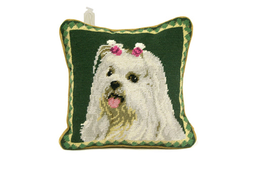 Green Maltese Needlepoint Pillow