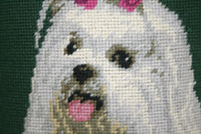 Load image into Gallery viewer, Green Maltese Needlepoint Pillow