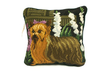 Load image into Gallery viewer, Green Yorkie Needlepoint Pillow