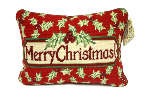 Red Christmas Needlepoint Pillow